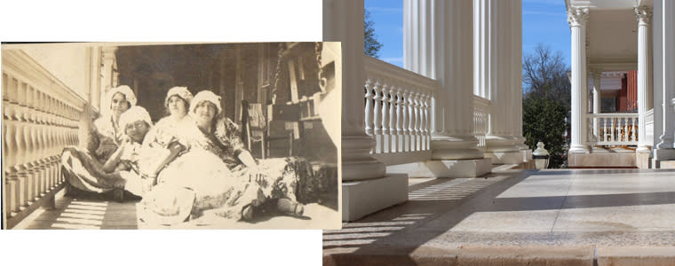 Then and Now Atkinson Porch GCSU