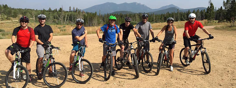 Group gravel biking in Boulder