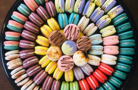 Rainbow tray of macarons