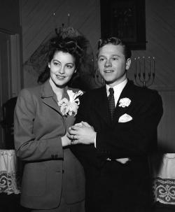 Ava and Mickey's wedding day, 1942.