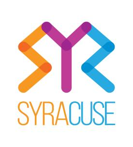Visit Syracuse Logo in Orange, Purple and Blue