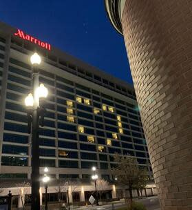 Windows lit in the shape of a heart at the Marriott City Creek Center