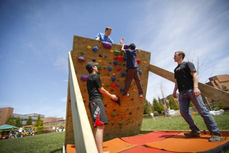 rockwall climbing at the Imagine RIT Festival in Rochester, NY