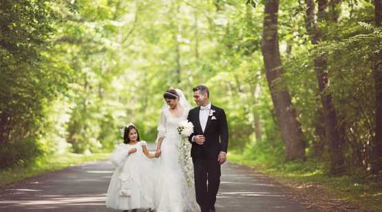 The Harris Co. Bridal couple with child