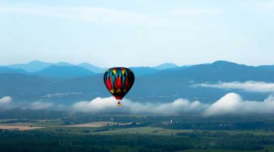 Saratoga Balloon and BBQ Festival balloon in mountains