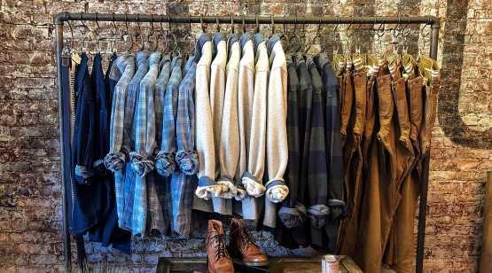 Union Hall rack of shirts