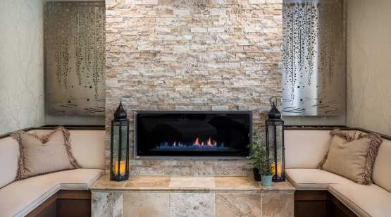 Complexions Spa fireplace in relaxation room