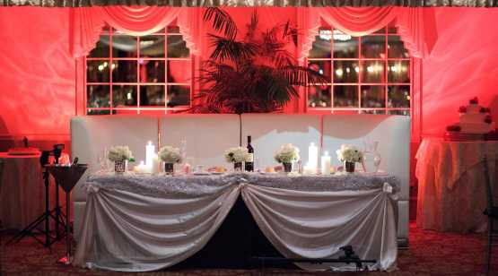Mallozzi's Catering Table setting with red lighting