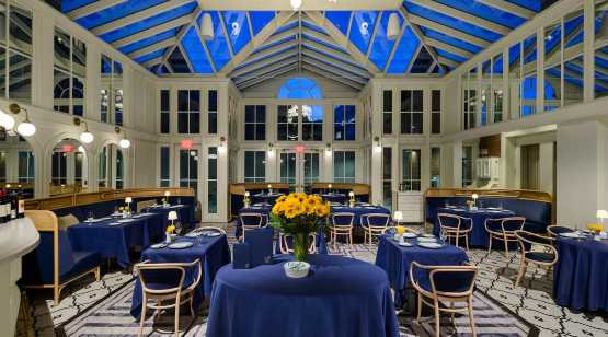 The Blue Hen evening view of dining room