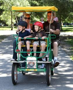 Riding a rental bike with the family in Irvine Regional Park