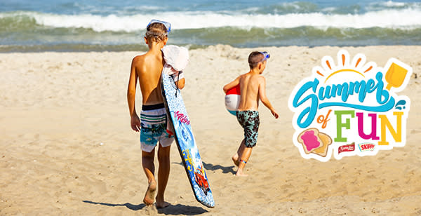 Boys on the Beach with Summer of Fun logo