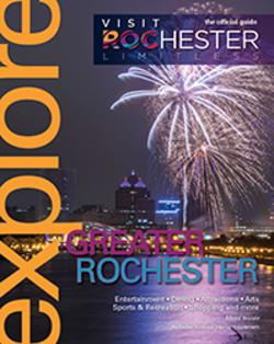 2019 Visit Rochester Explore Guide Cover Fireworks Over the Genesee River