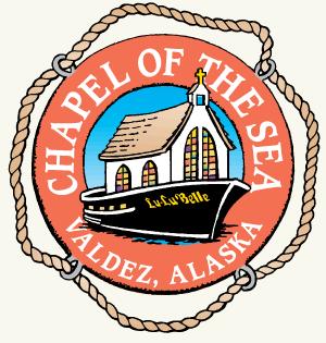 a logo for a church service on a yacht