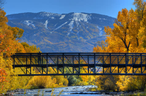 Fall colors glow along the Yampa River