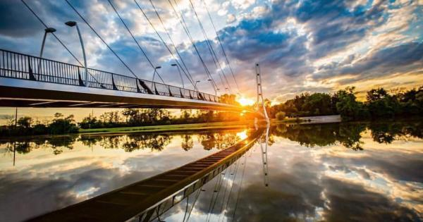Sunset over Saint Joseph River and Venderly Bridge at Purdue Fort Wayne