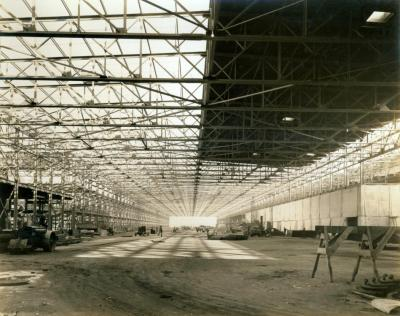 A wide photo of the Willow Run Bomber Plant interior.