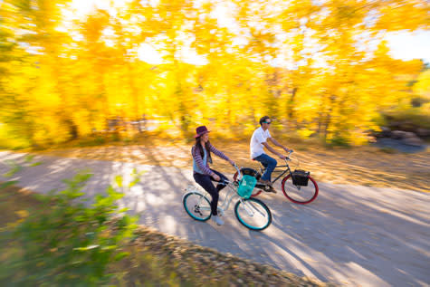 Ride along the Yampa River Core Trail in the fall