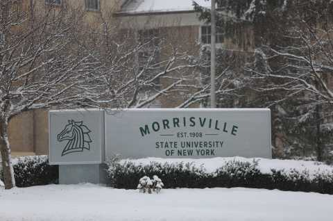 SUNY Morrisville campus sign on Route 20