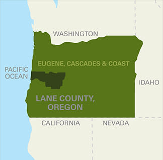Eugene, Cascades & Coast Lane County Map