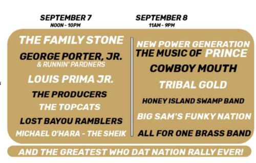 Who Dat Rally Music Schedule