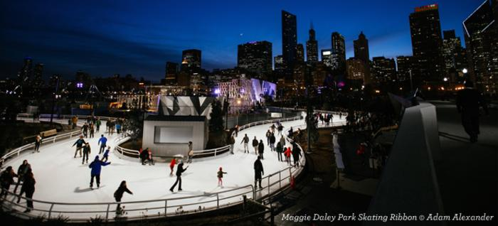 People ice skating at Maggie Daley Park in Chicago