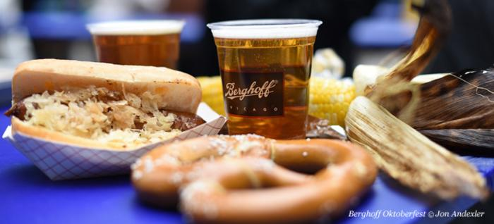 Brats, beer and pretzels at Berghoff Restaurant's Oktoberfest in Chicago
