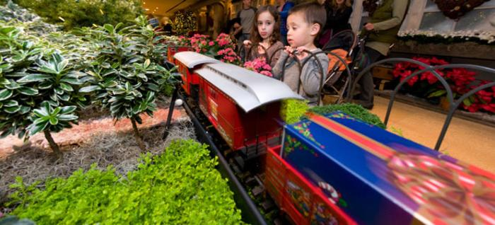 Kids viewing trains at CBG Wonderland Express at the Chicago Botanic Garden