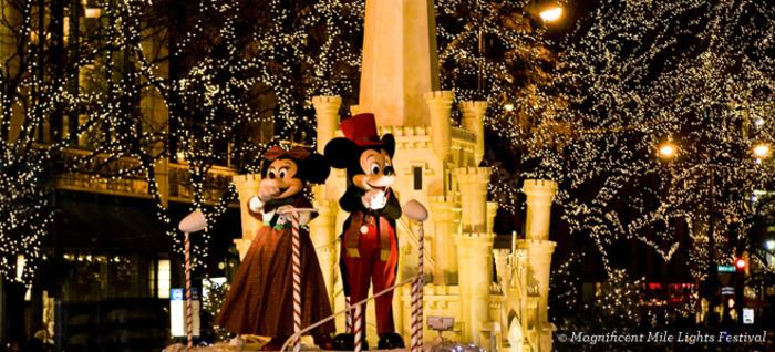 Mickey and Minnie at the Magnificent Mile Lights Festival in Chicago