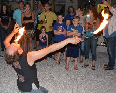 Fire dance performance by Chad Balster at Glass Artists in Action