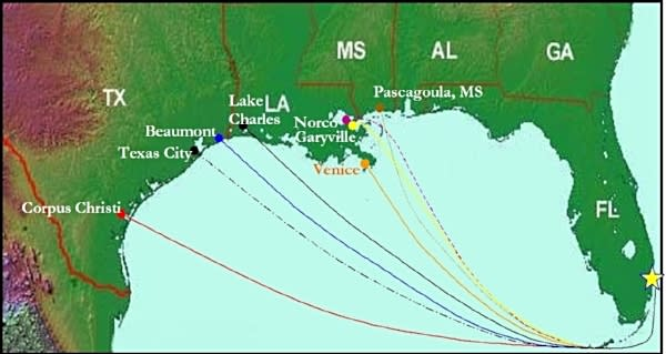Image of map showing the Gulf Coast of USA ports of origin for petroleum