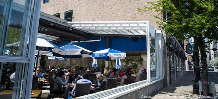 Diners at the outdoor patio of Athena Greek Restaurant in Chicago
