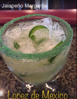A ready to drink Jalepeno Margarita at Lopez de Mexico in Atchison, KS