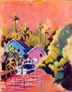 Colorful plein air painting of houses, boat, canal