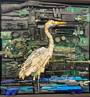 Egret made of plastic found in the oceans