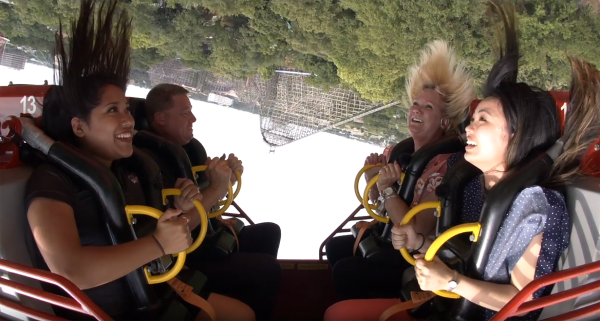 El Diablo ride reaction photo, passengers upside down