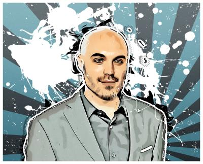 An illustrated image of the famous film-maker David Lowery.