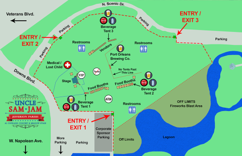 Uncle Sam Jam Map