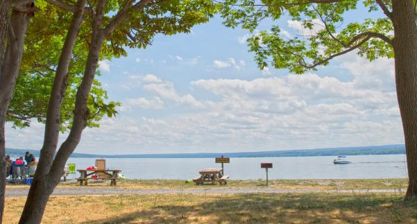 View of beach and picnic facilities at Long Point State Park