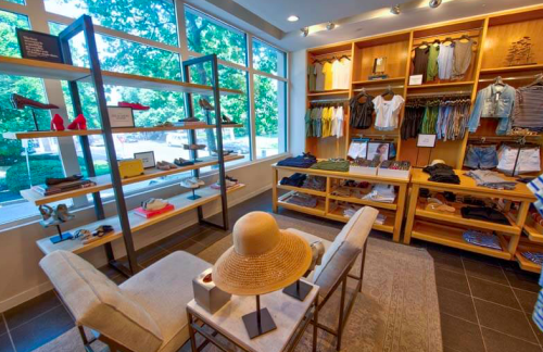the interior of a J.Crew clothing store