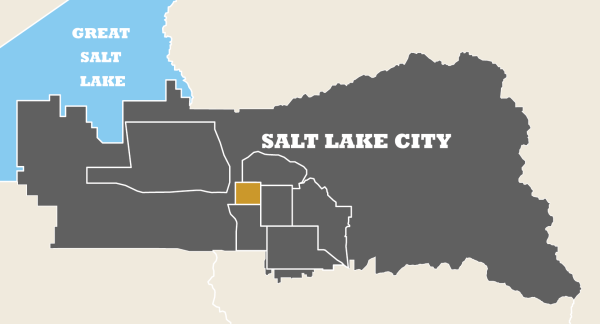 Map of Salt Lake City with Downtown Highlighted