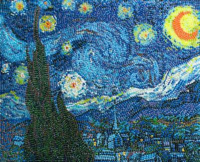 Jelly Belly Portrait Starry Night made from Jelly Beans