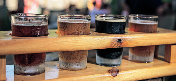 Craft Beer in a wooden holder
