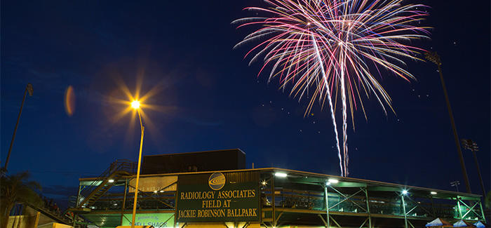 Fireworks light up the sky above Jackie Robinson Ballpark