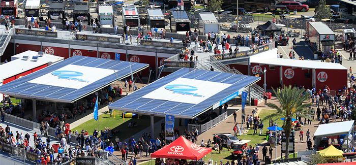 Aerial view of Daytona International Speedway vendors during Daytona Bike Week