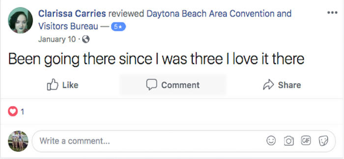 Daytona Beach visitor shares a positive testimonial