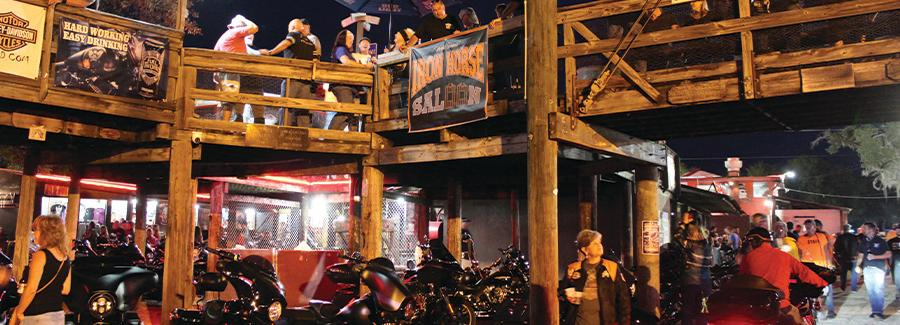 A crowd gathers at Iron Horse Saloon during Biketoberfest