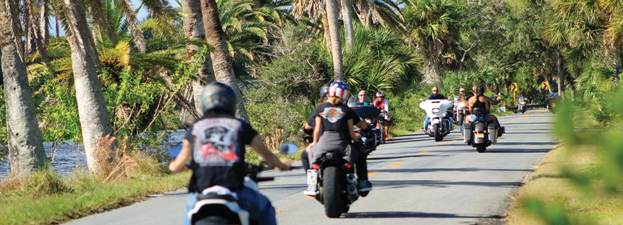 Motorcyclists ride through the Ormond Scenic Loop and Trail