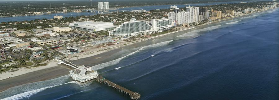 An aerial view of the Daytona Beach coastline and Main Street Pier