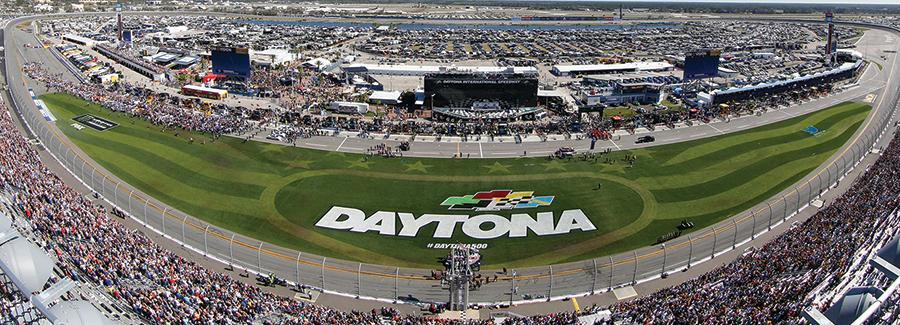 An aerial view of Daytona International Speedway during the DAYTONA 500