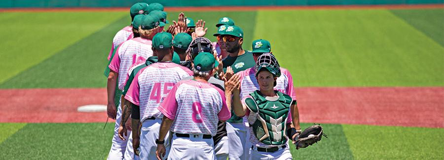 The Daytona Tortugas' team high fives their opponents after a home game at historic Jackie Robinson Ballpark